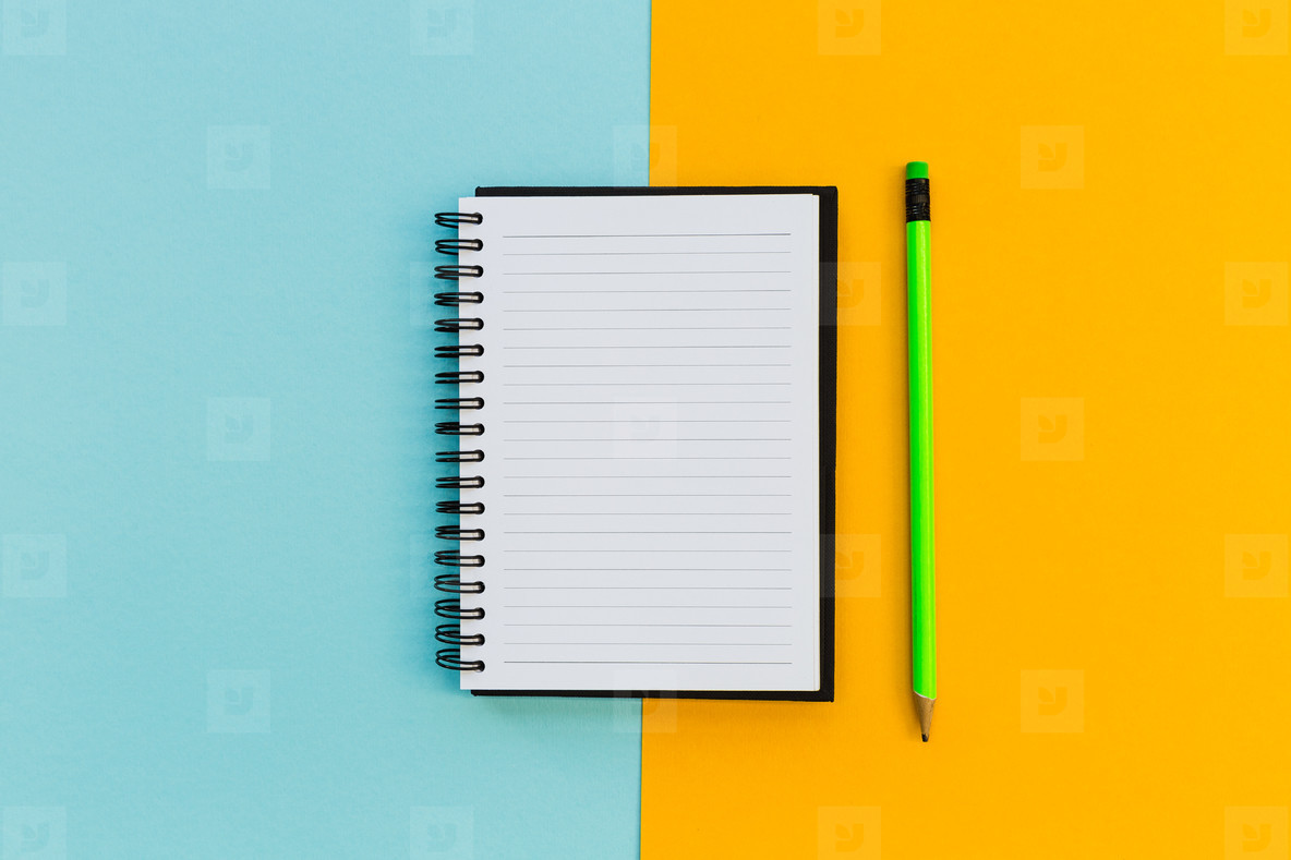 Minimal stationery education notebook on bright background