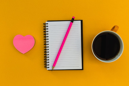 Minimal stationery education notebook with coffee love heart on