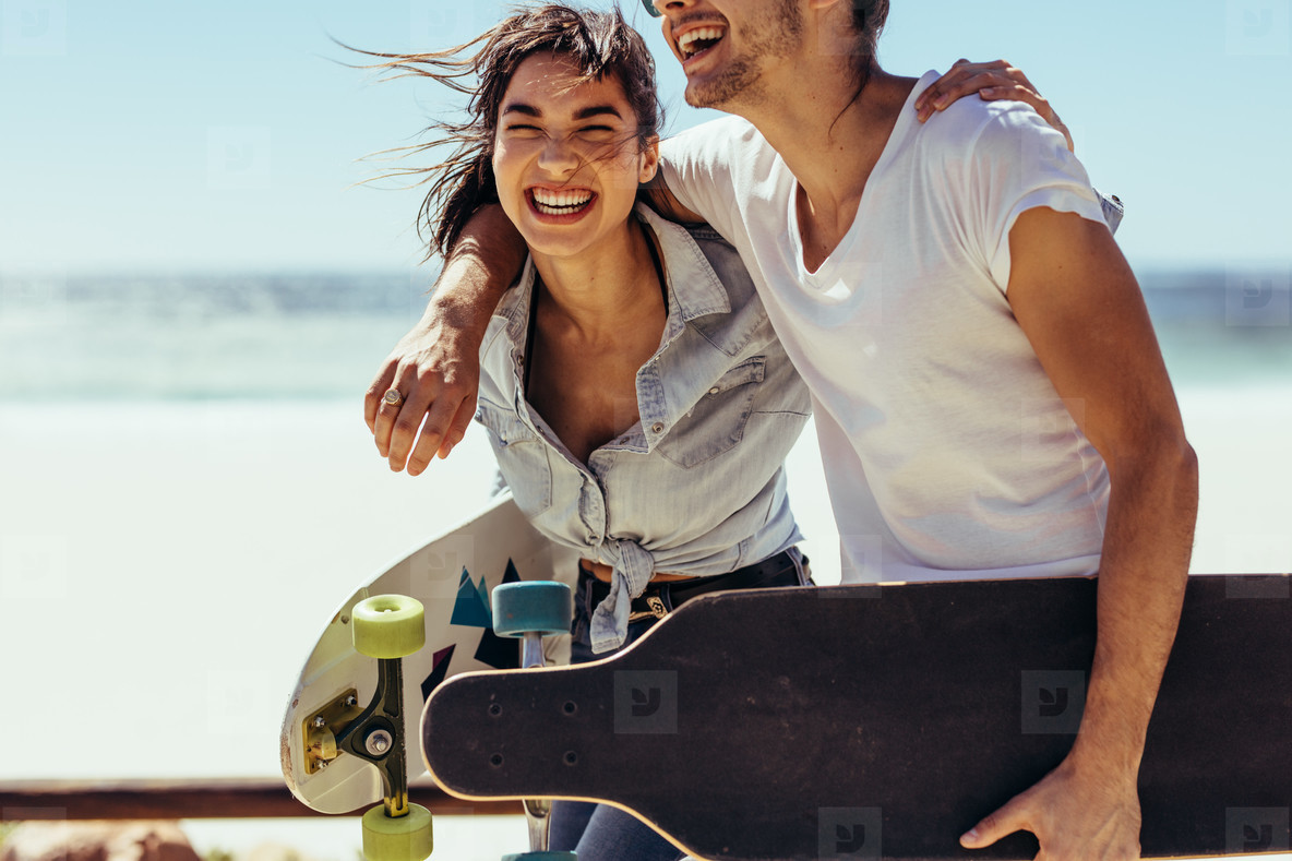 Couple laughing and having fun