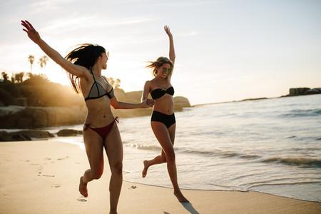 Women enjoying on beach vacation