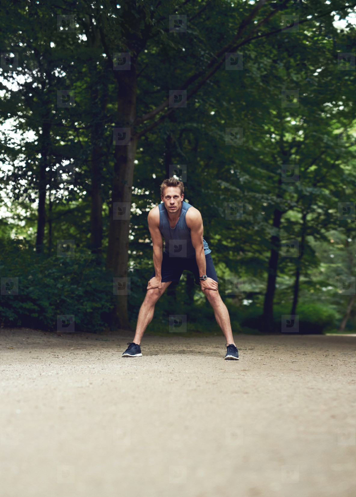 Athletic Man Resting After an Outdoor Running