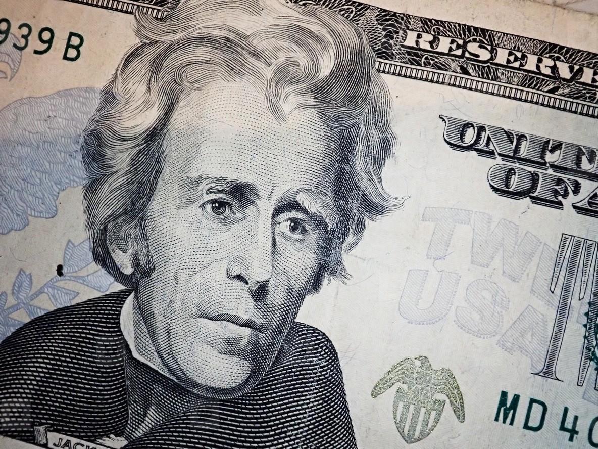 Andrew Jackson on twenty Dollars bill macro  United states money