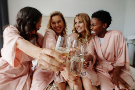 Women celebrate a bachelorette party of bride