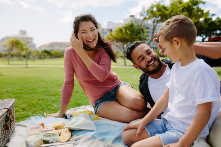 Family out for a picnic in a park
