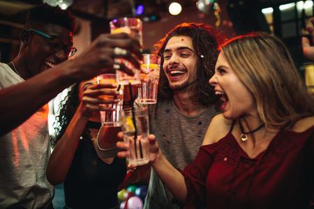 Group of friend having fun at the nightclub
