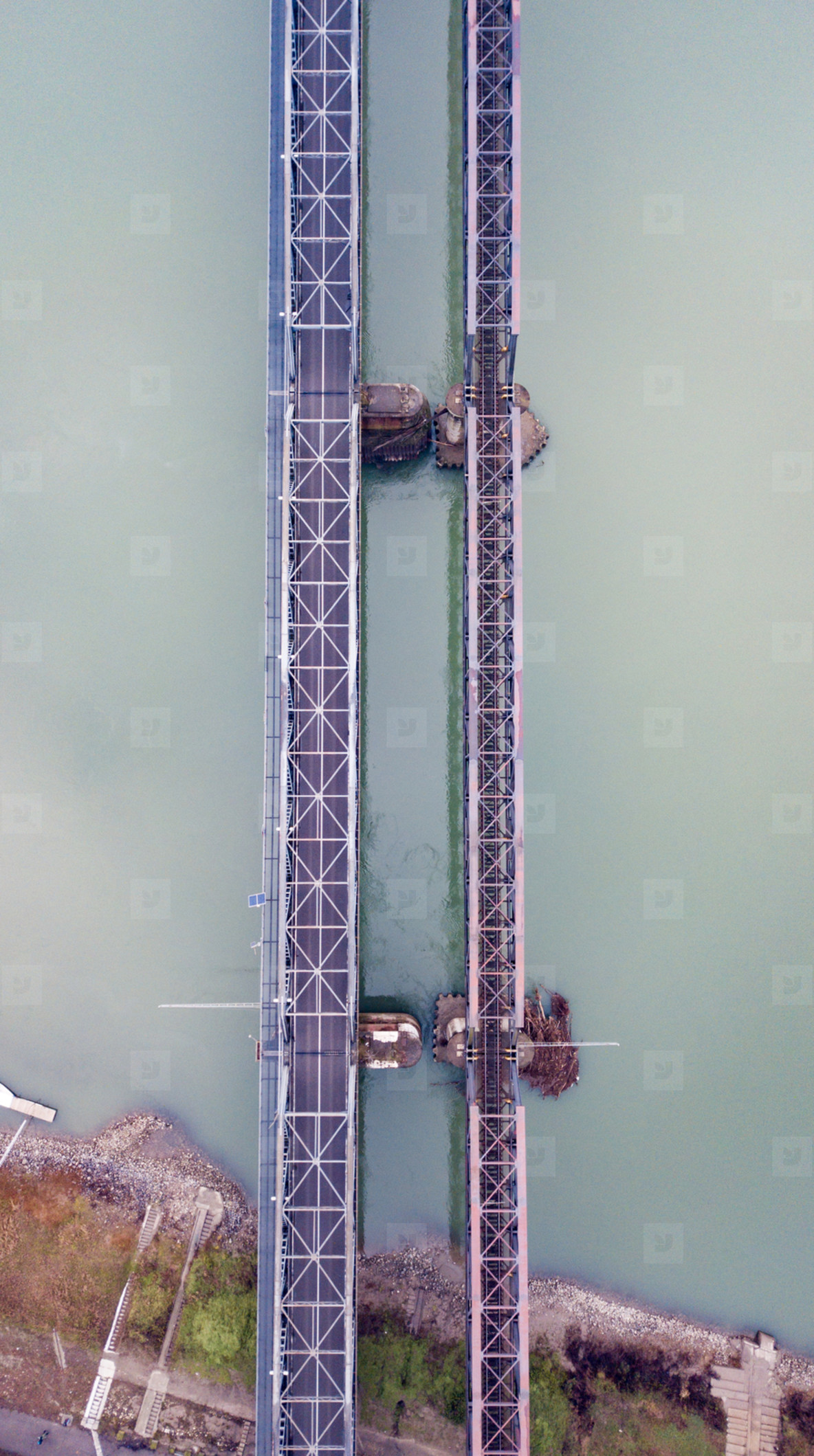 Aerial view of a bridge