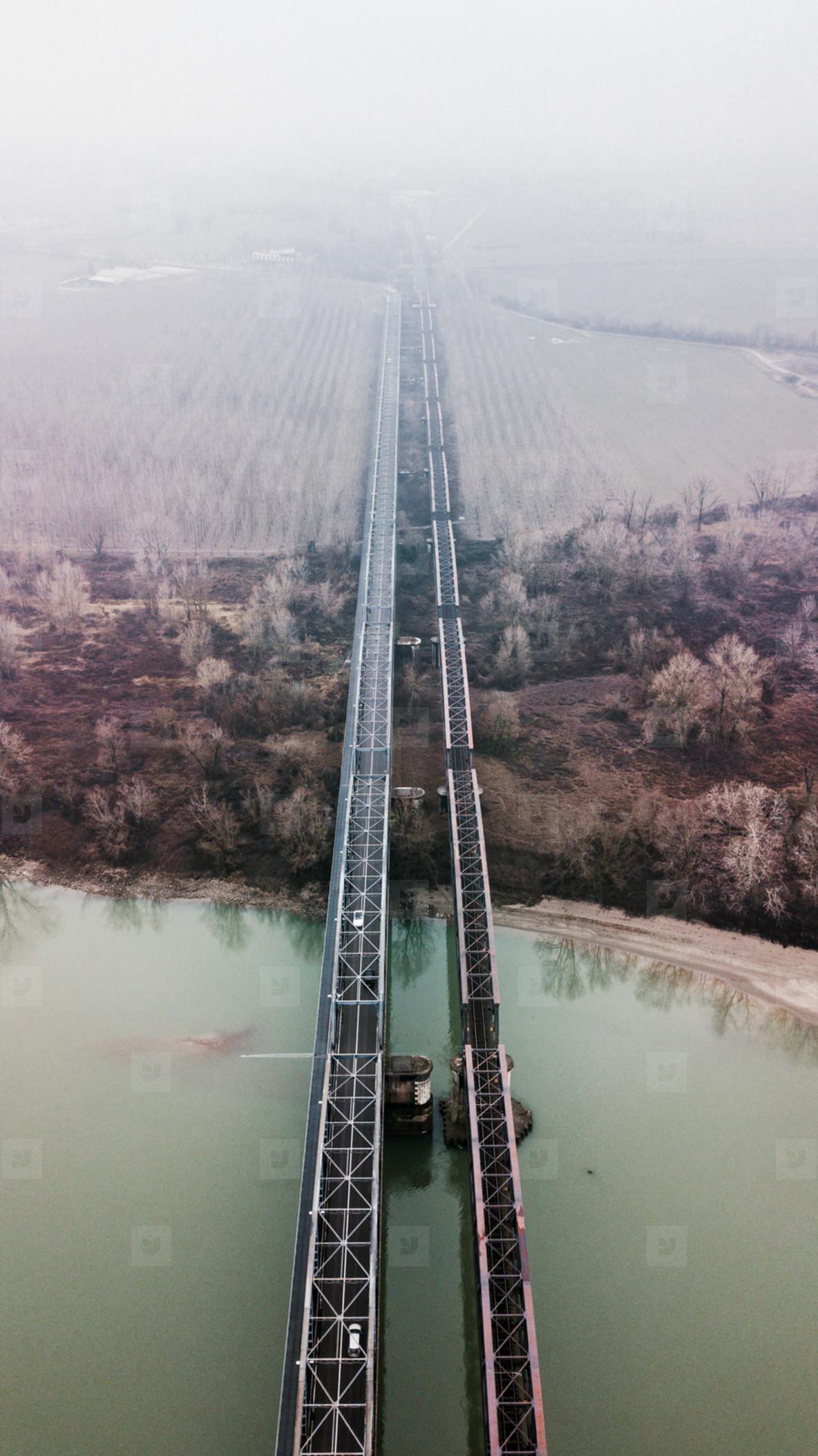 Aerial view of a bridge