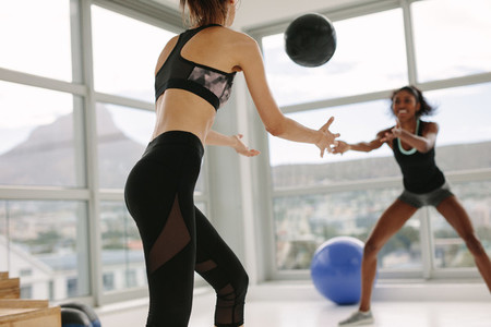 Women exercising with medicine ball in gym