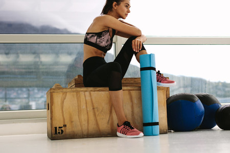 Woman taking break after her workout