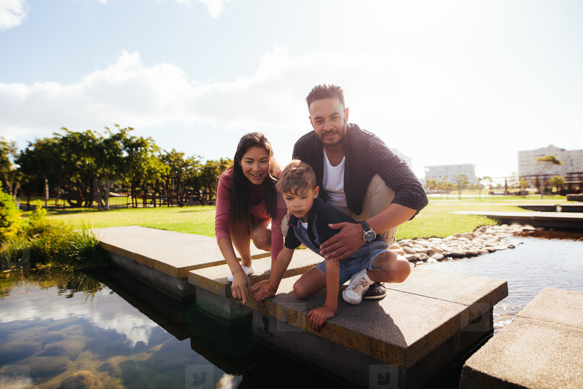 Couple with child on a day out