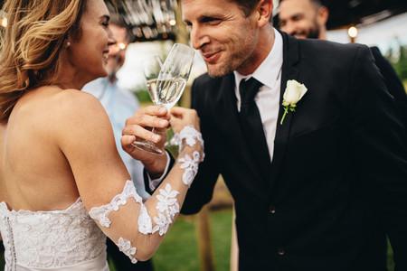 Romantic moment at wedding reception