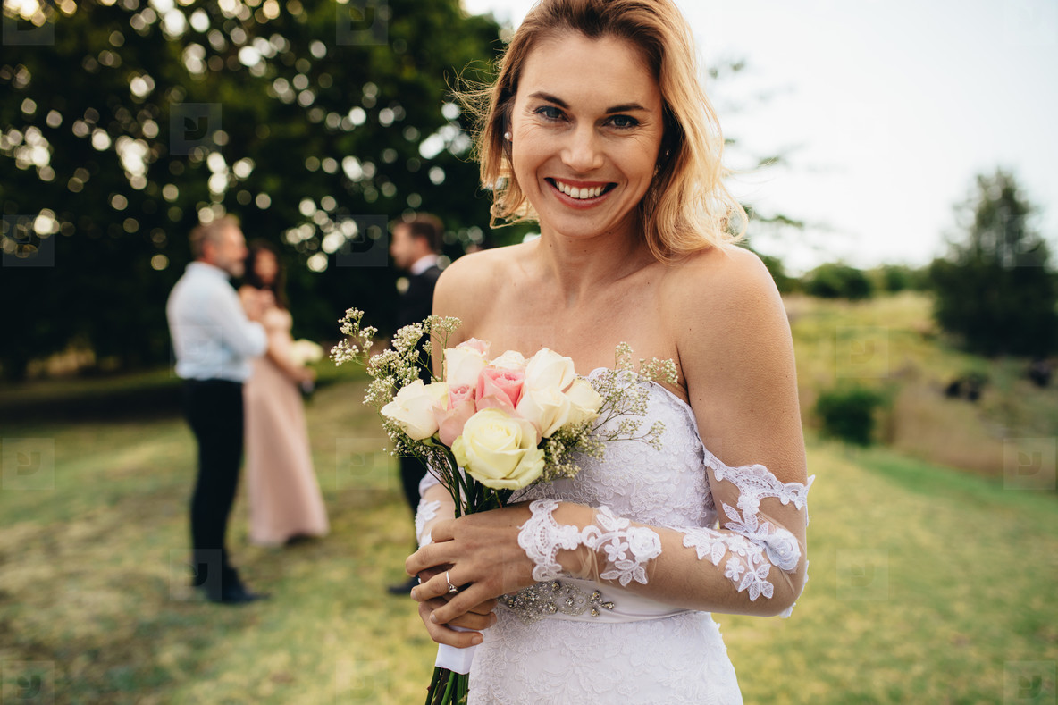 Bride looking happy at wedding party