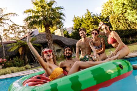 Summer pool party selfie