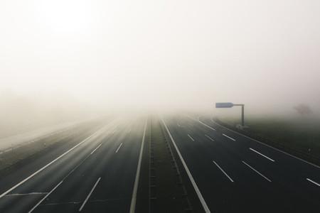 foogy sunrise at highway
