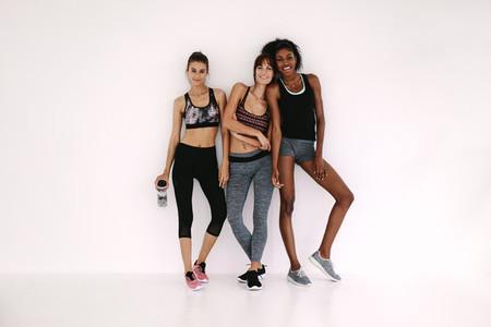 Friends in sportswear after workout