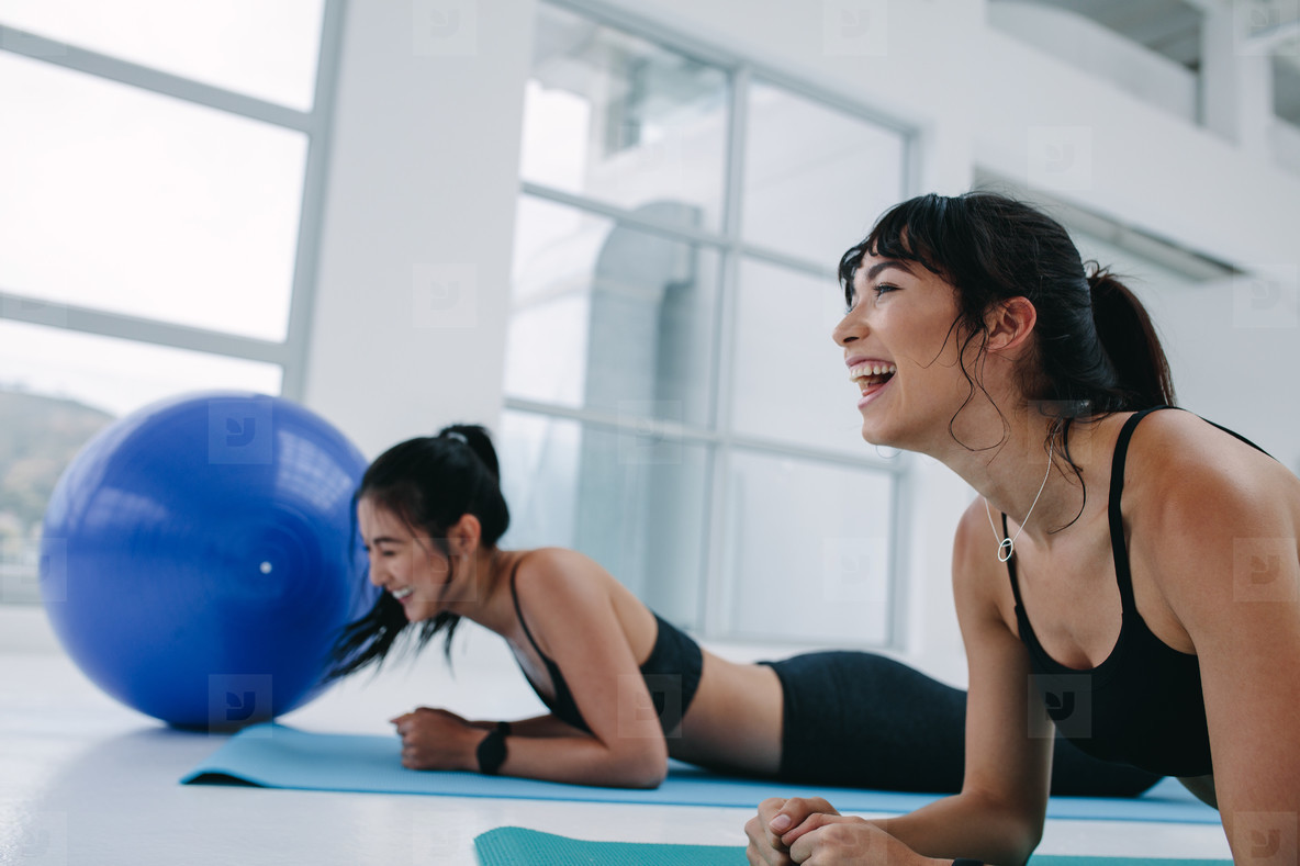 Women having fun during fitness training