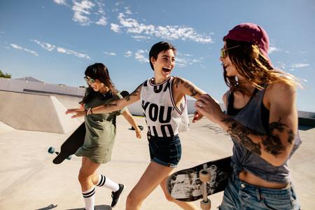 Urban girls enjoying at skate park