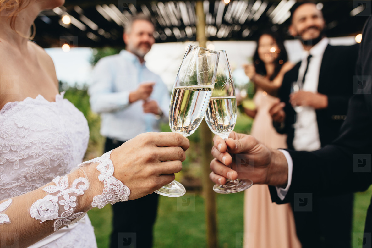 Newlyweds clinking glasses at wedding reception