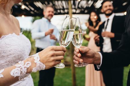 Newlyweds clinking glasses at wedding reception