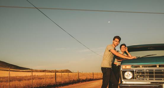 Couple enjoying a road trip