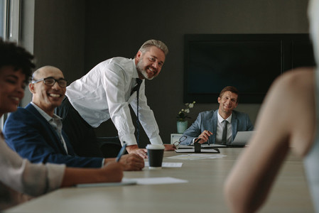 Group of corporate professionals during meeting