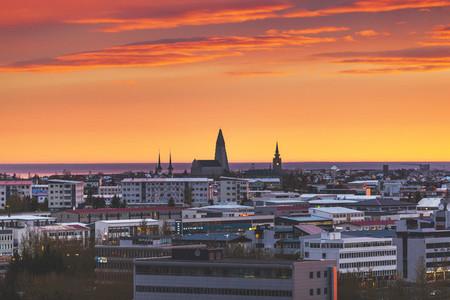Sunset at Reykjavik  Iceland