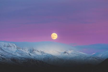 Moonlight view of Reykjavik