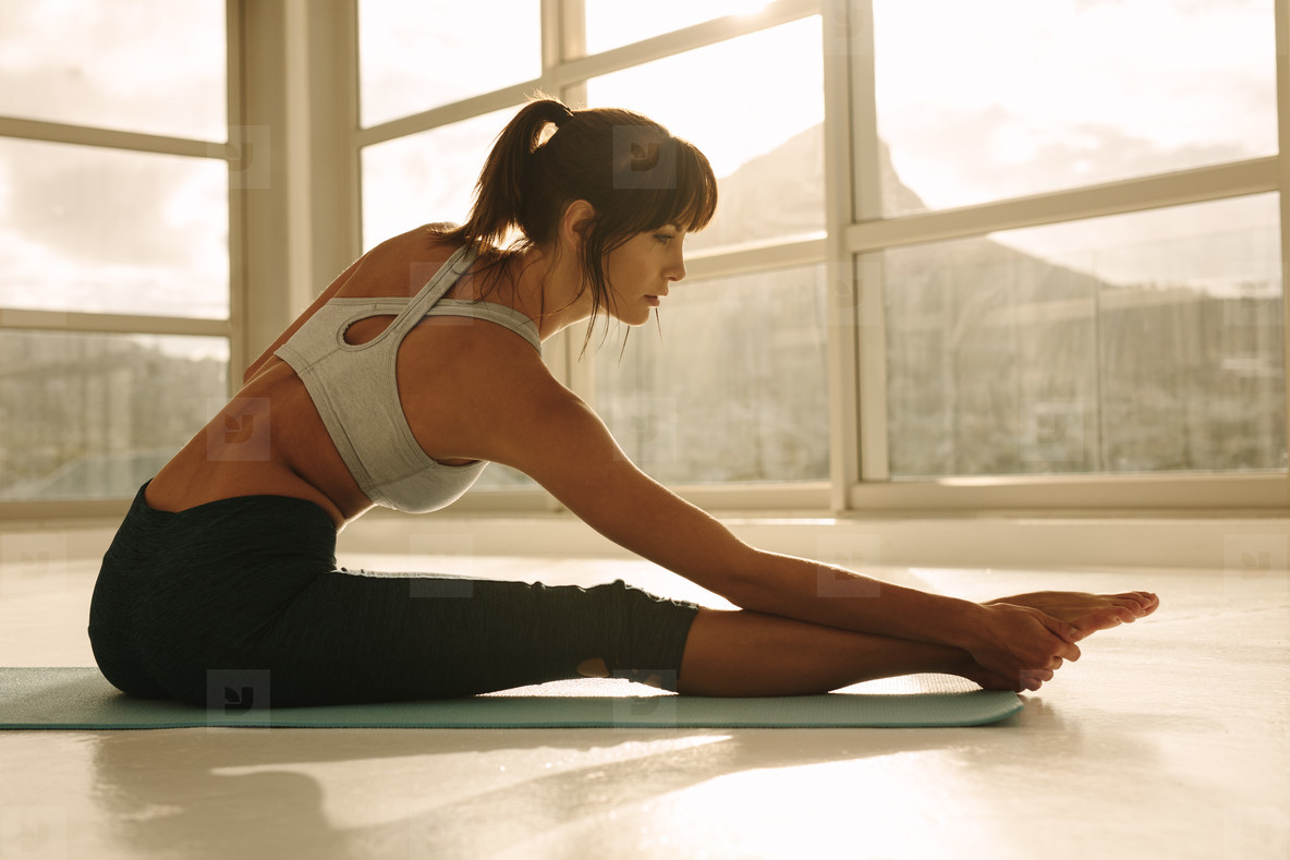 Woman doing stretching workout