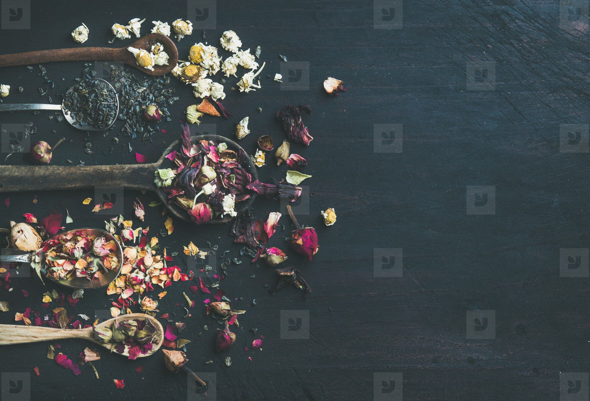 Wooden spoons with dried herbs and flower buds  copy space