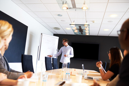 White male executive leading a work meeting