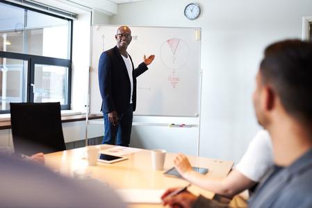 Black male executive smiling lea