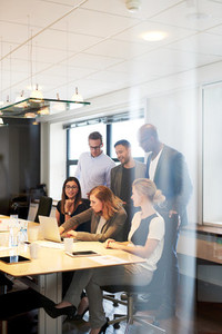 Group of executives gathered in conference room