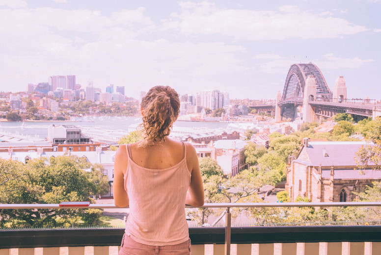 Woman looking at Sydney Harbour