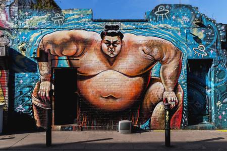 Sumo wrestler street art