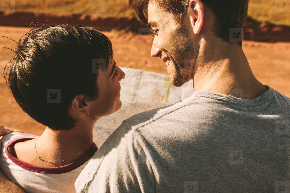 Couple looking at map for navigation