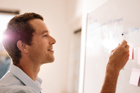 Entrepreneur writing on the sticky notes placed on white board