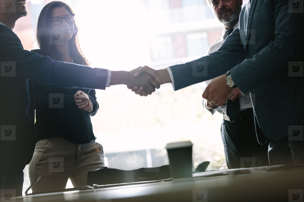 Successful business associates shaking hands