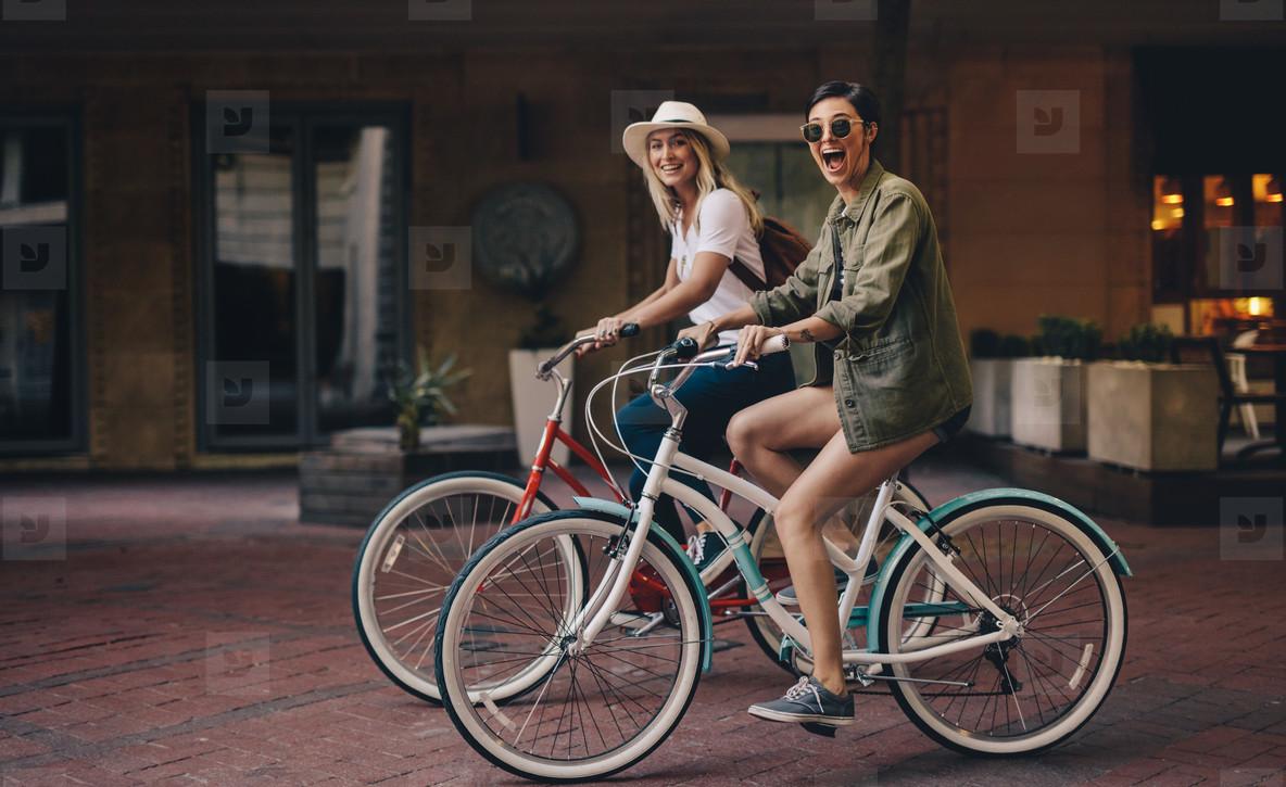 Friends enjoying their bike ride