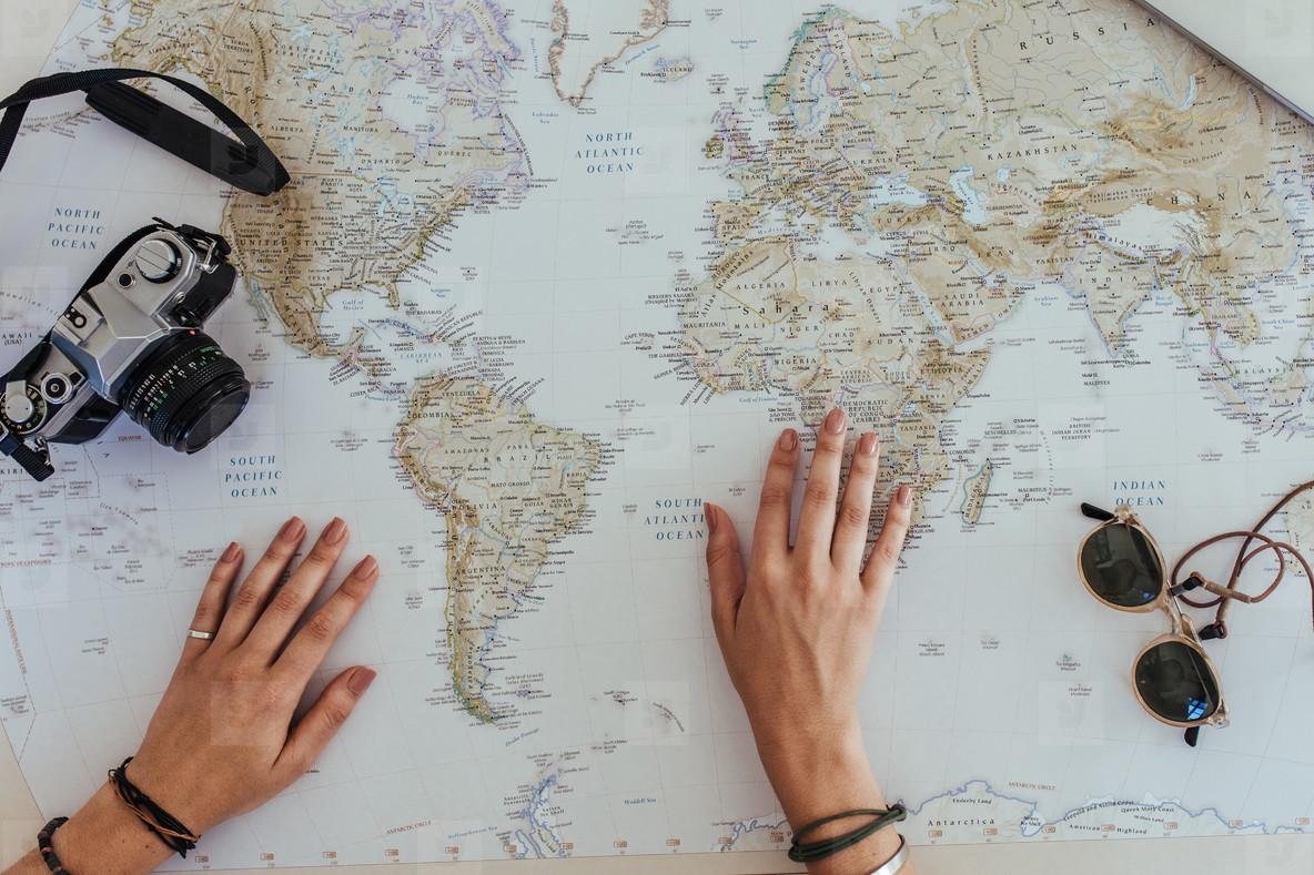 Woman making travel plans