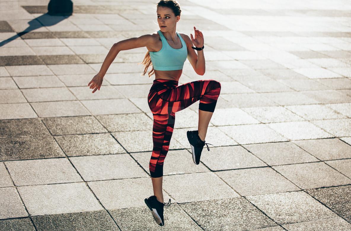 Woman doing cardio interval training