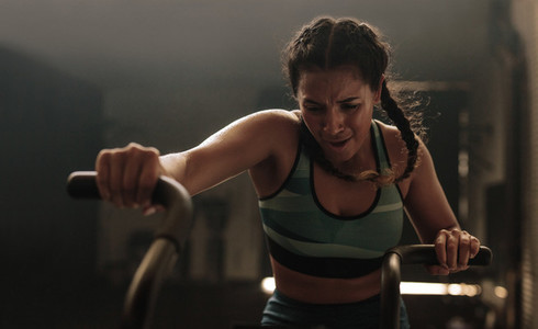 Tough training on gym bike