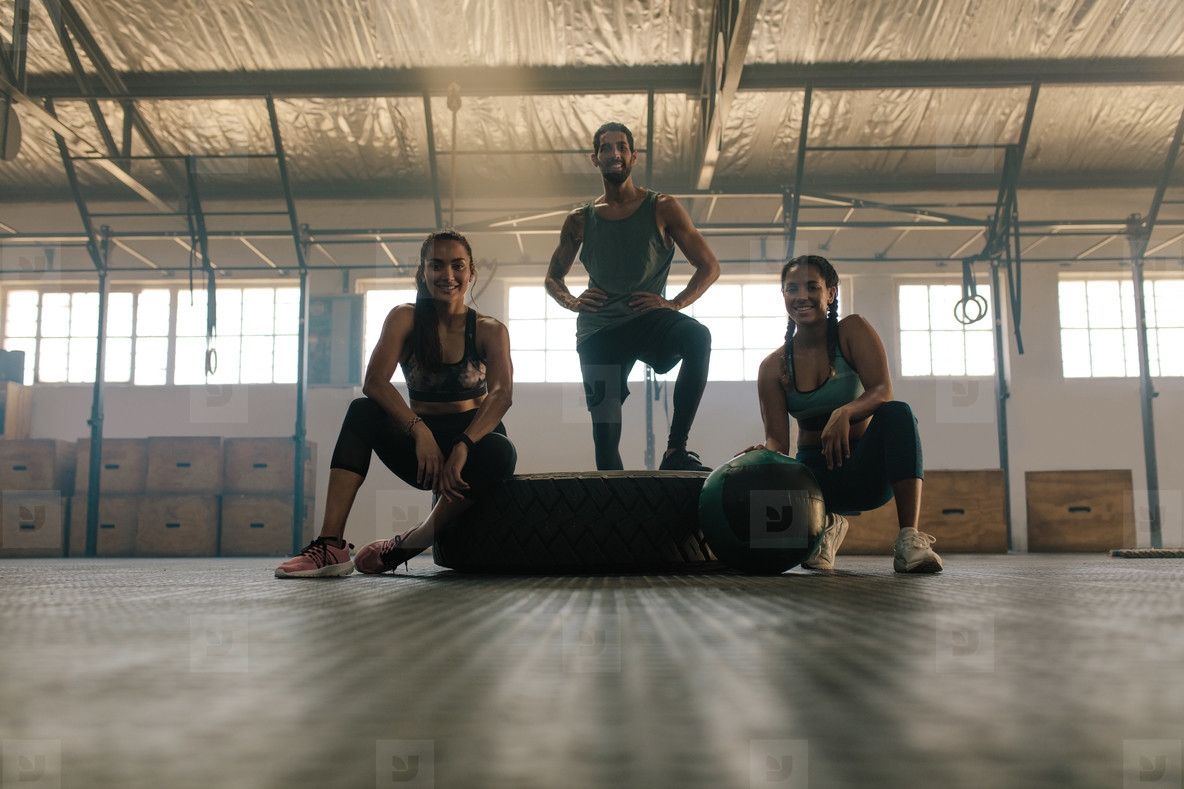 Friends taking rest after fitness training