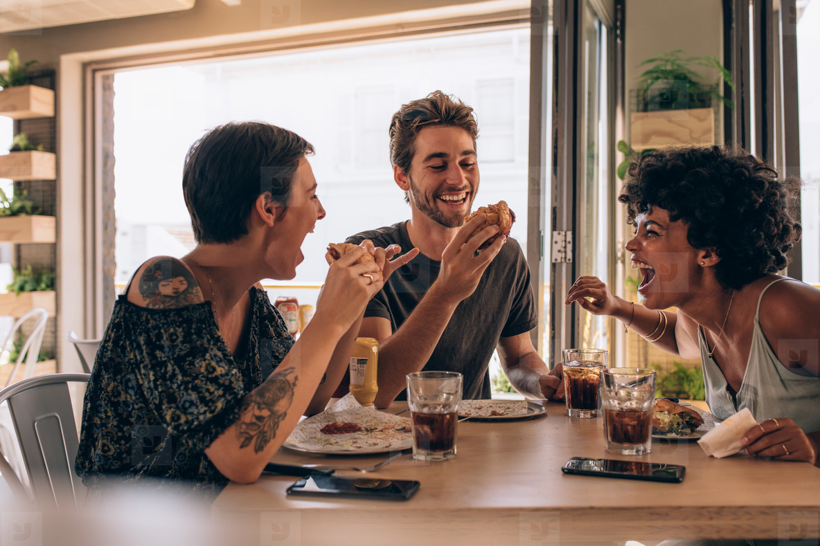 Friends chilling out at a restaurant