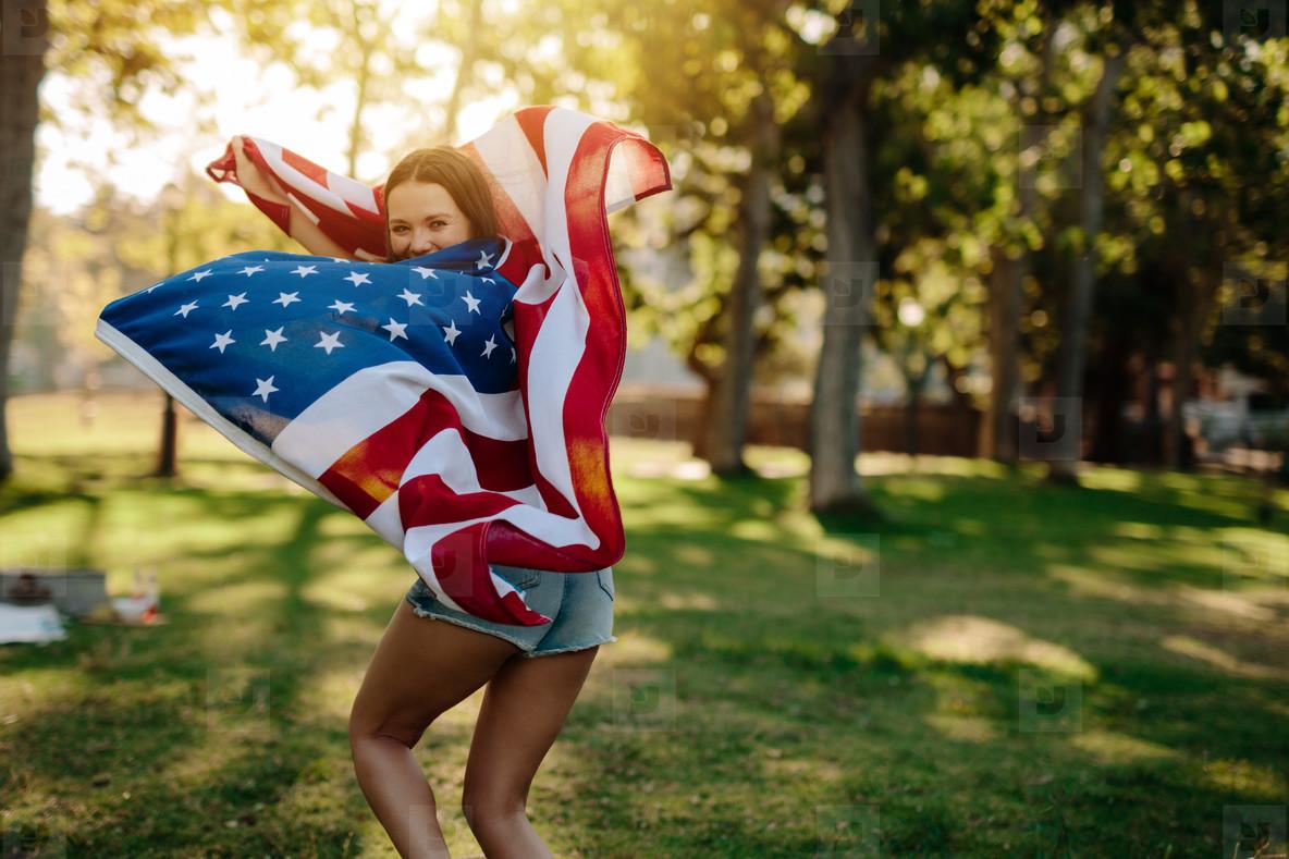 American girl enjoying freedom