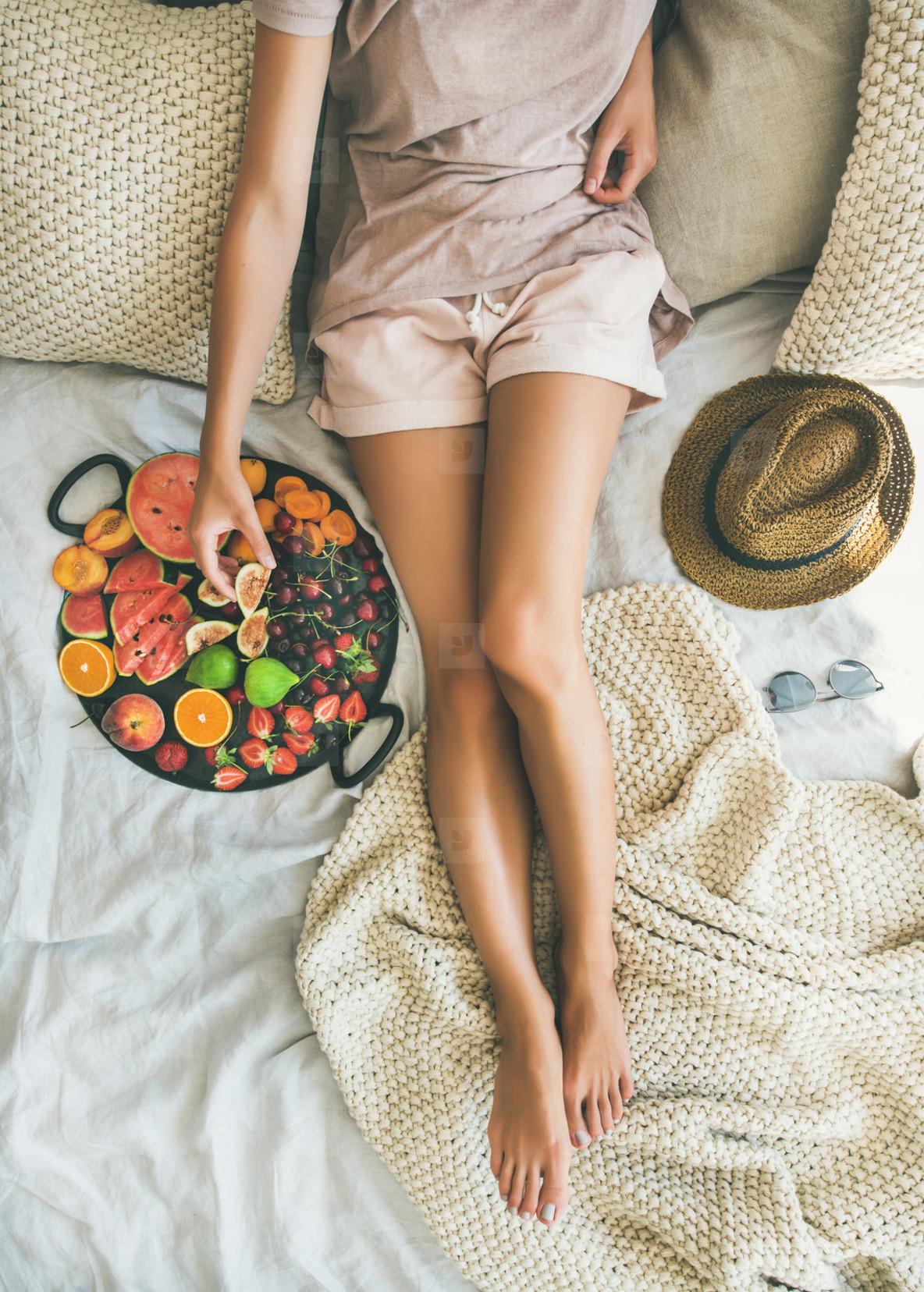 Summer healthy raw vegan clean eating breakfast in bed concept