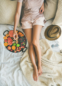 Summer healthy raw vegan clean eating breakfast in bed concept