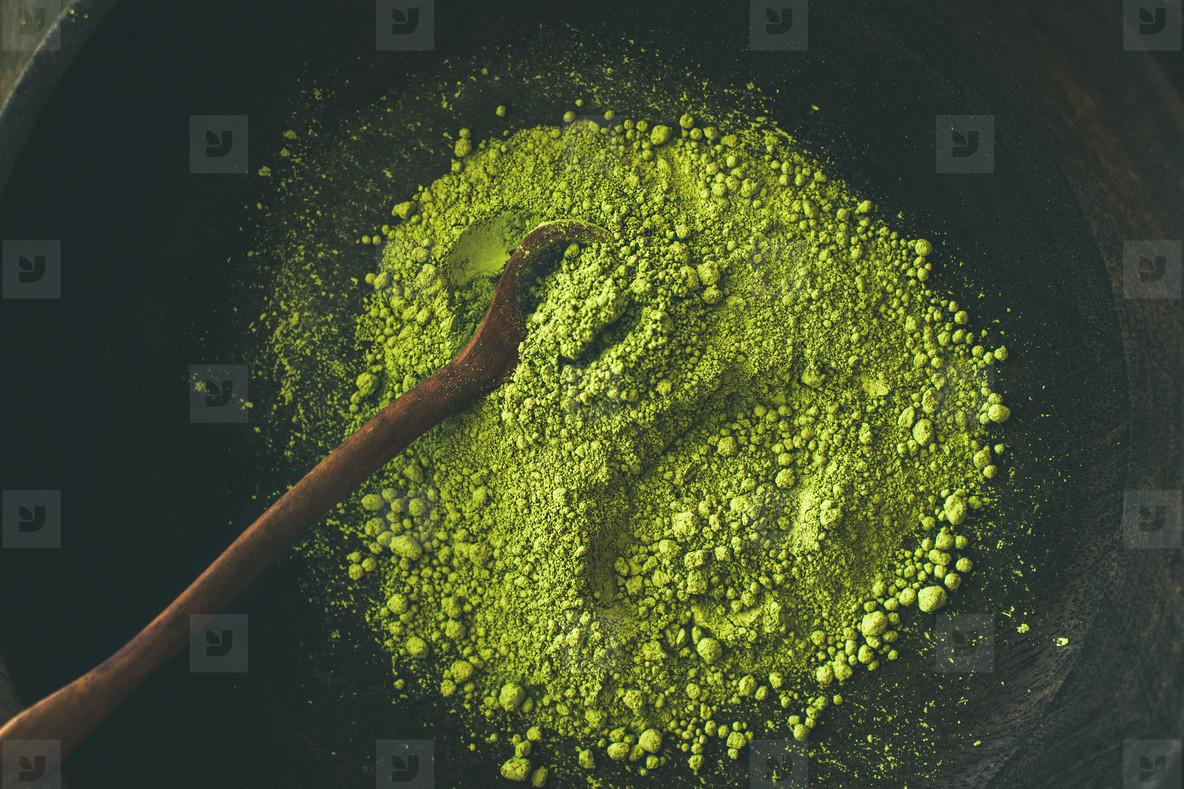 Japanese Matcha green tea powder in bowl  top view