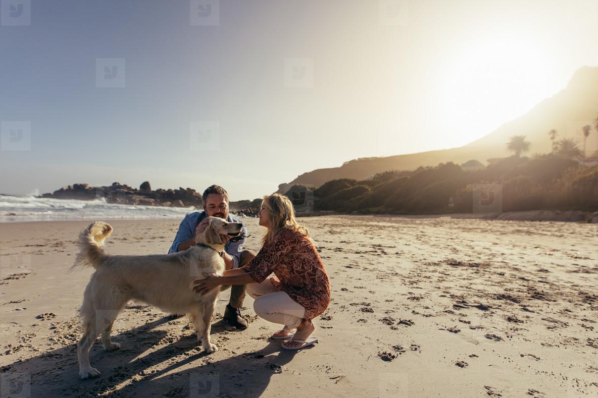 Senior couple with pet dog on beach