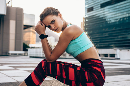 Female relaxing after intense workout