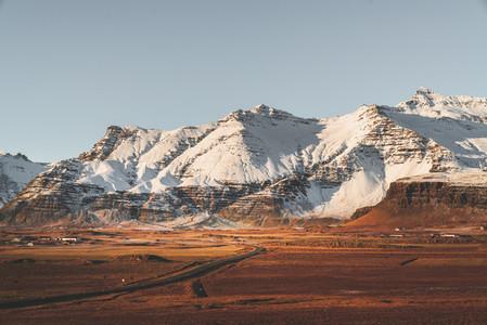 Asphalt highway in South Iceland